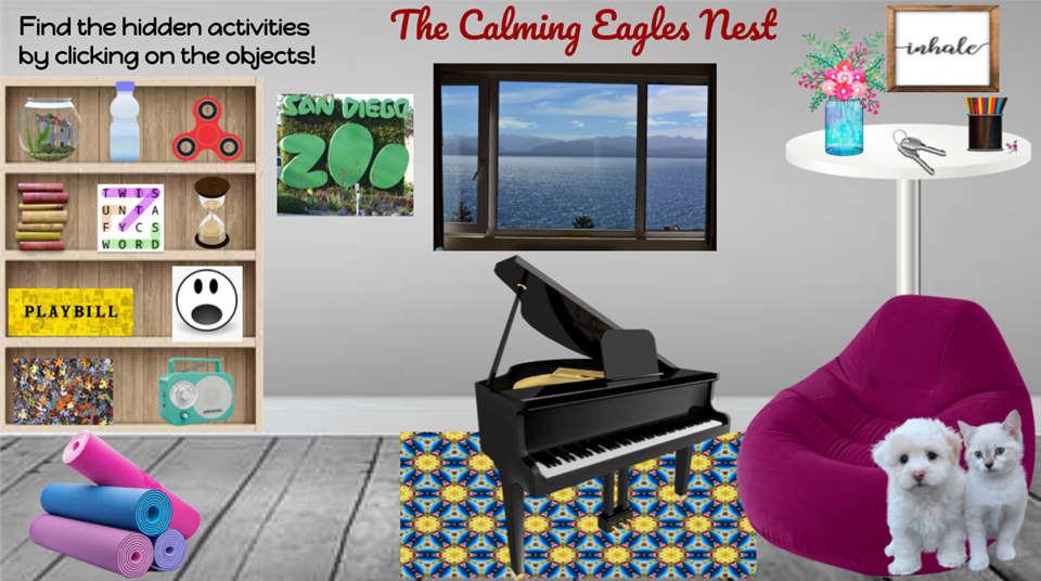 Web page with chair, piano dogs called The Calming Eagle's Next