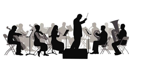 Graphic of orchestra and director.